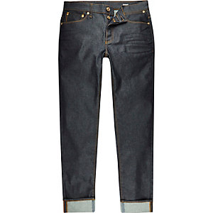 Dunkel gewaschene Sid Skinny Jeans mit Umschlag