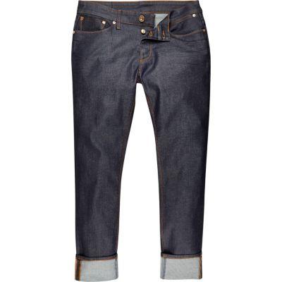 Dylan dark blue wash smalle jeans met omgeslagen pijpen