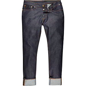 Dark blue wash Dylan slim turn-up jeans