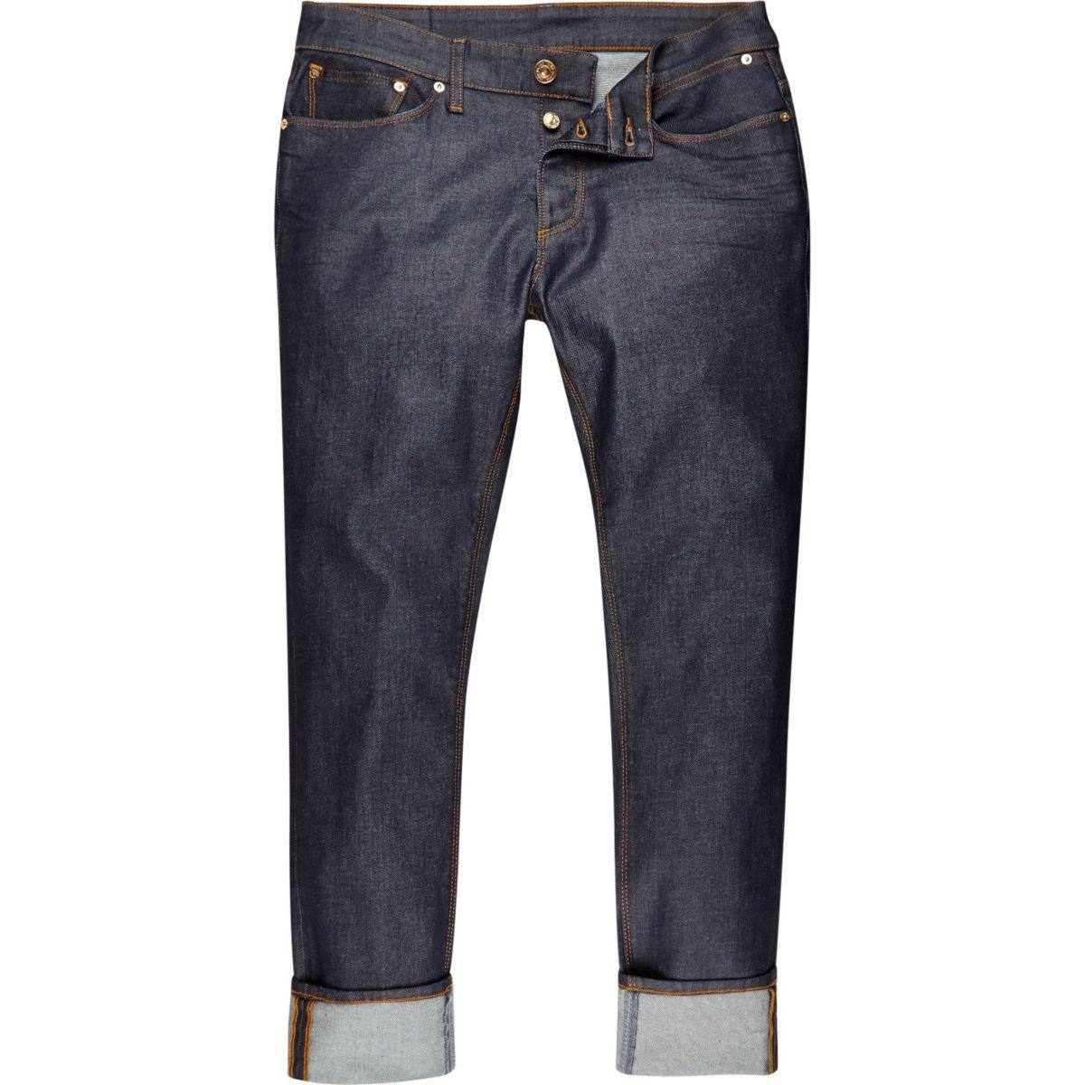 Dark blue wash Dylan slim turn-up jeans