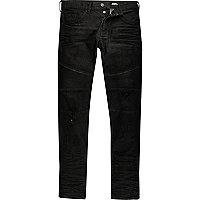 Black skinny biker jeans