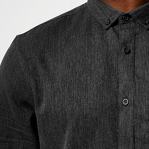 Grey waffle texture shirt