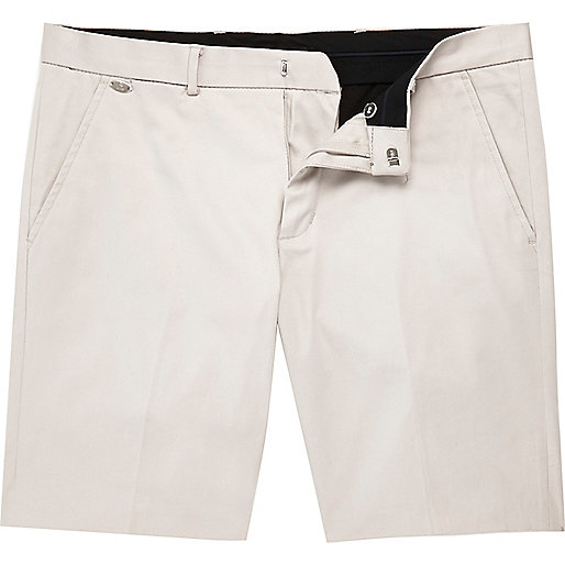 Ecru smart stretch chino shorts