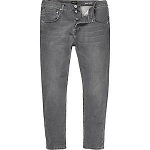 Grey skinny tapered jeans