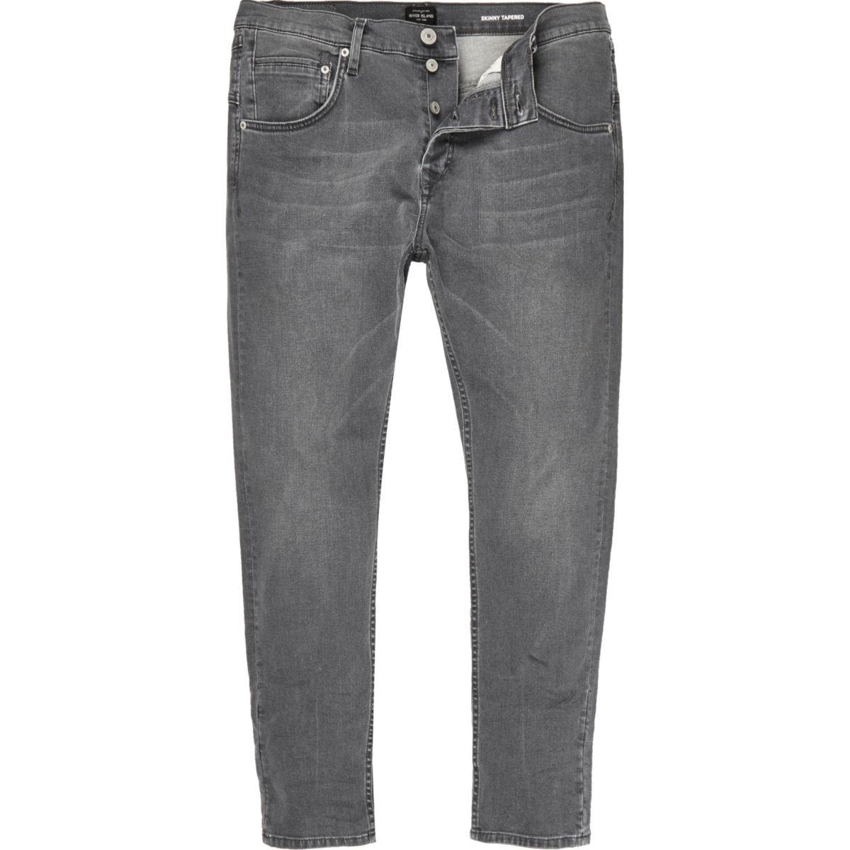 Grey skinny tapered jeans