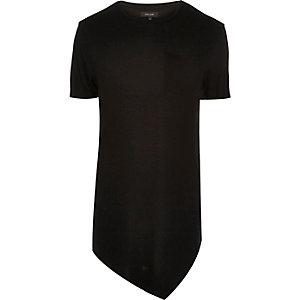 Black draped asymmetric longline T-shirt