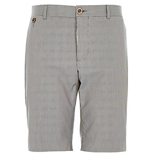Navy tailored houndstooth shorts