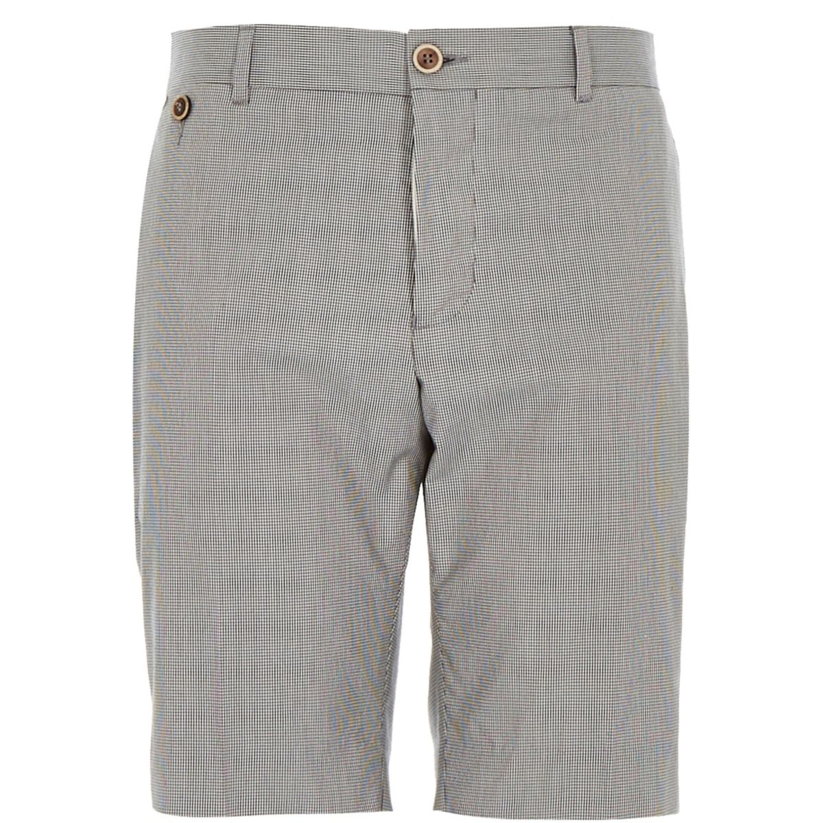 Navy tailored dogtooth shorts