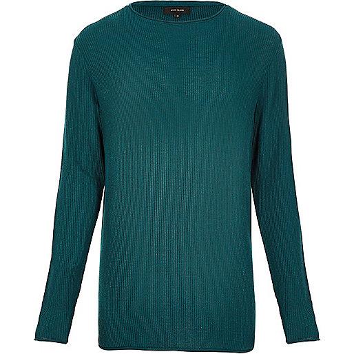 Blue lightweight plaited jumper