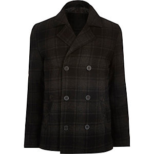 Grey Vito check double breasted coat