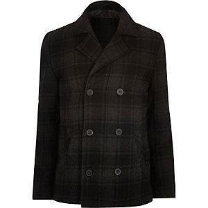 Manteau croisé Vito gris à carreaux