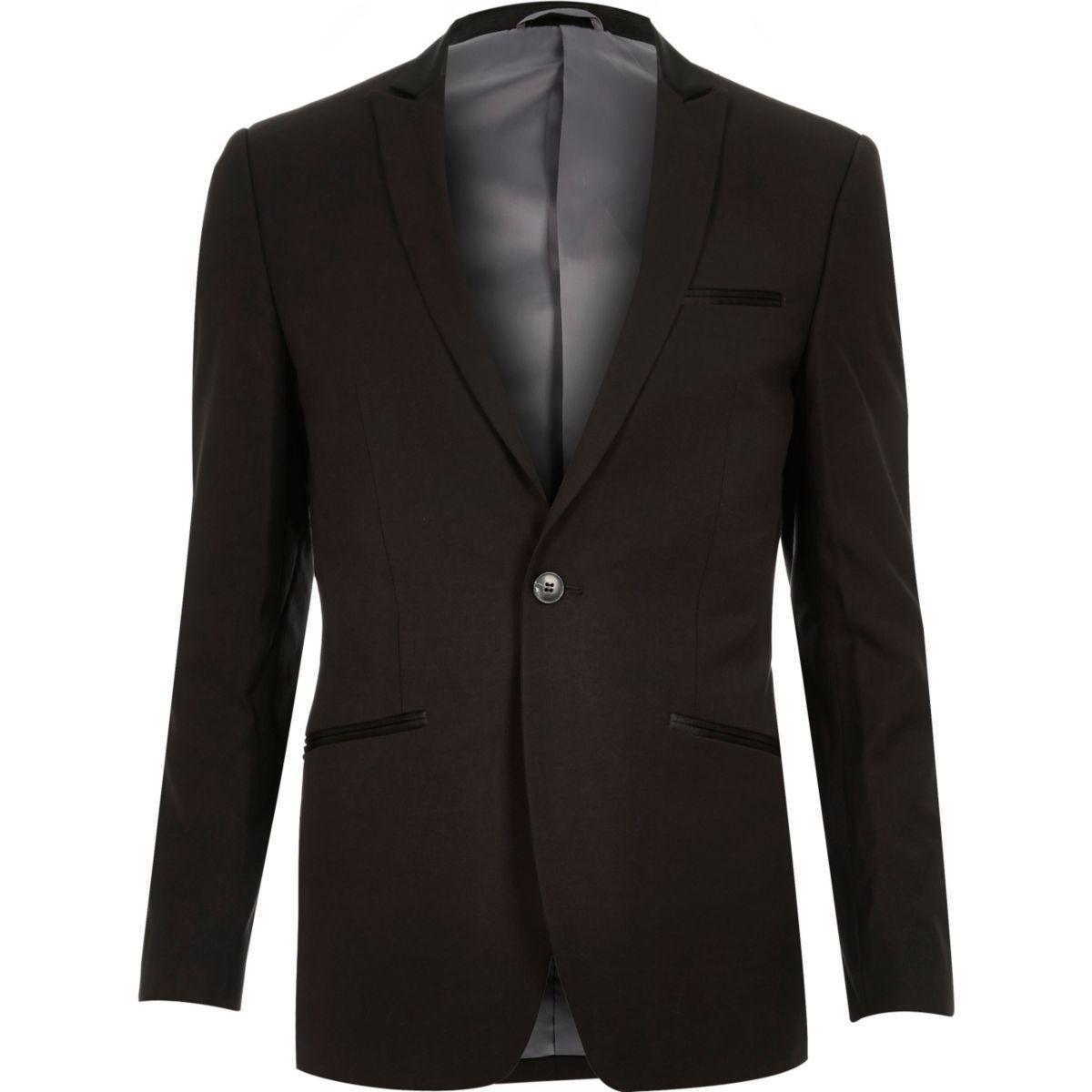 Zwarte Vito blazer, slim-fit, van wolmix