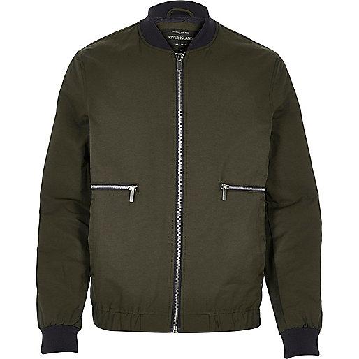 Green zip side bomber jacket