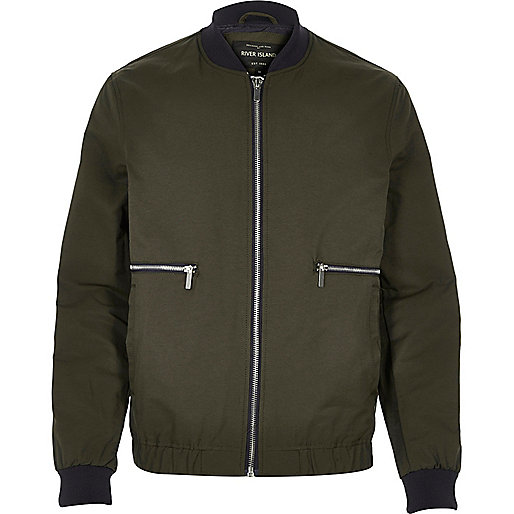 Green zip side bomber jacket