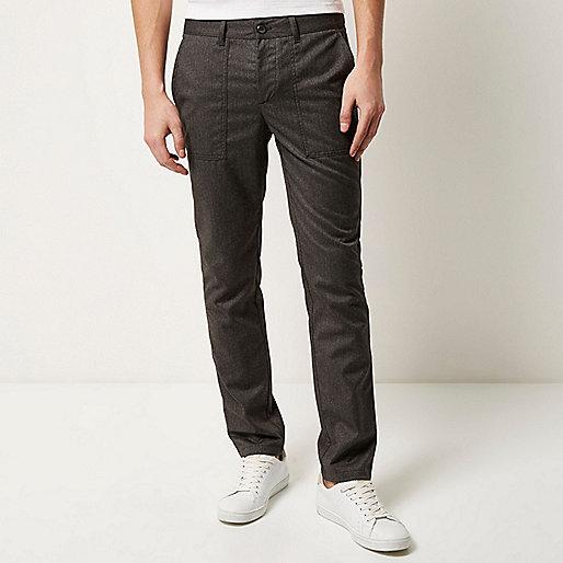 Light grey slim cropped trousers