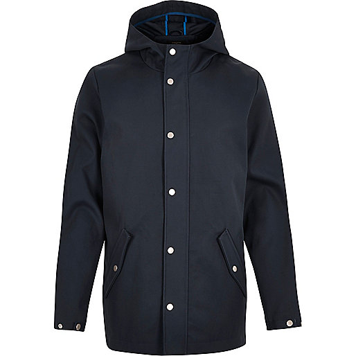 Navy casual hooded popper jacket