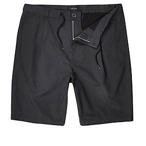 Navy drawstring oversized bermuda shorts