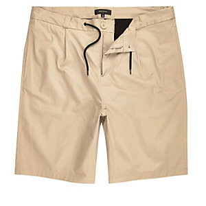 Tan smart drawstring bermuda shorts