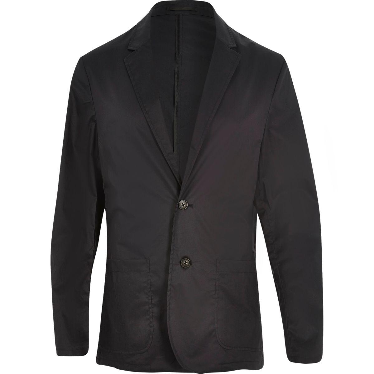 Zwarte poplin slim-fit blazer