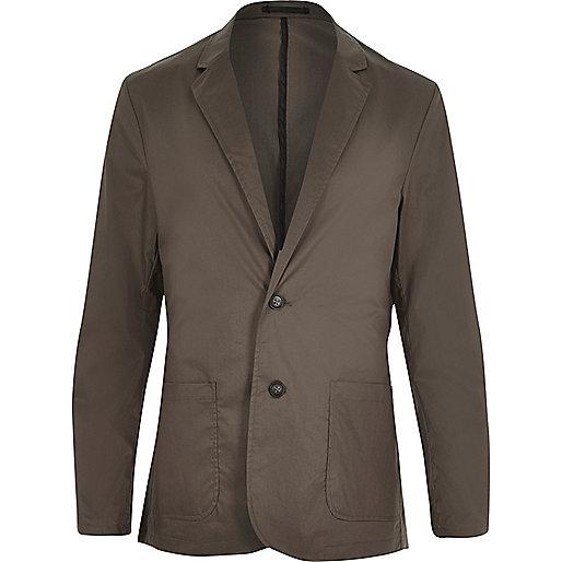 Khaki poplin slim blazer