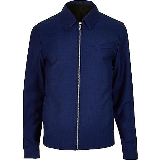 Blue zip-up harrington jacket