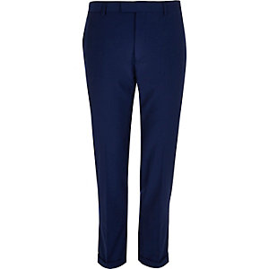 Bright blue slim cropped trousers