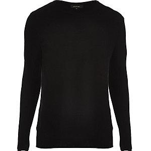 Black lightweight plaited tunic sweater