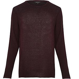 Dark purple lightweight plaited sweater