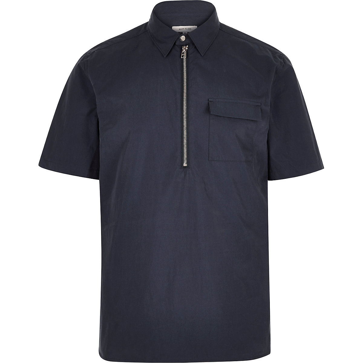 Blue minimal overhead short sleeve shirt