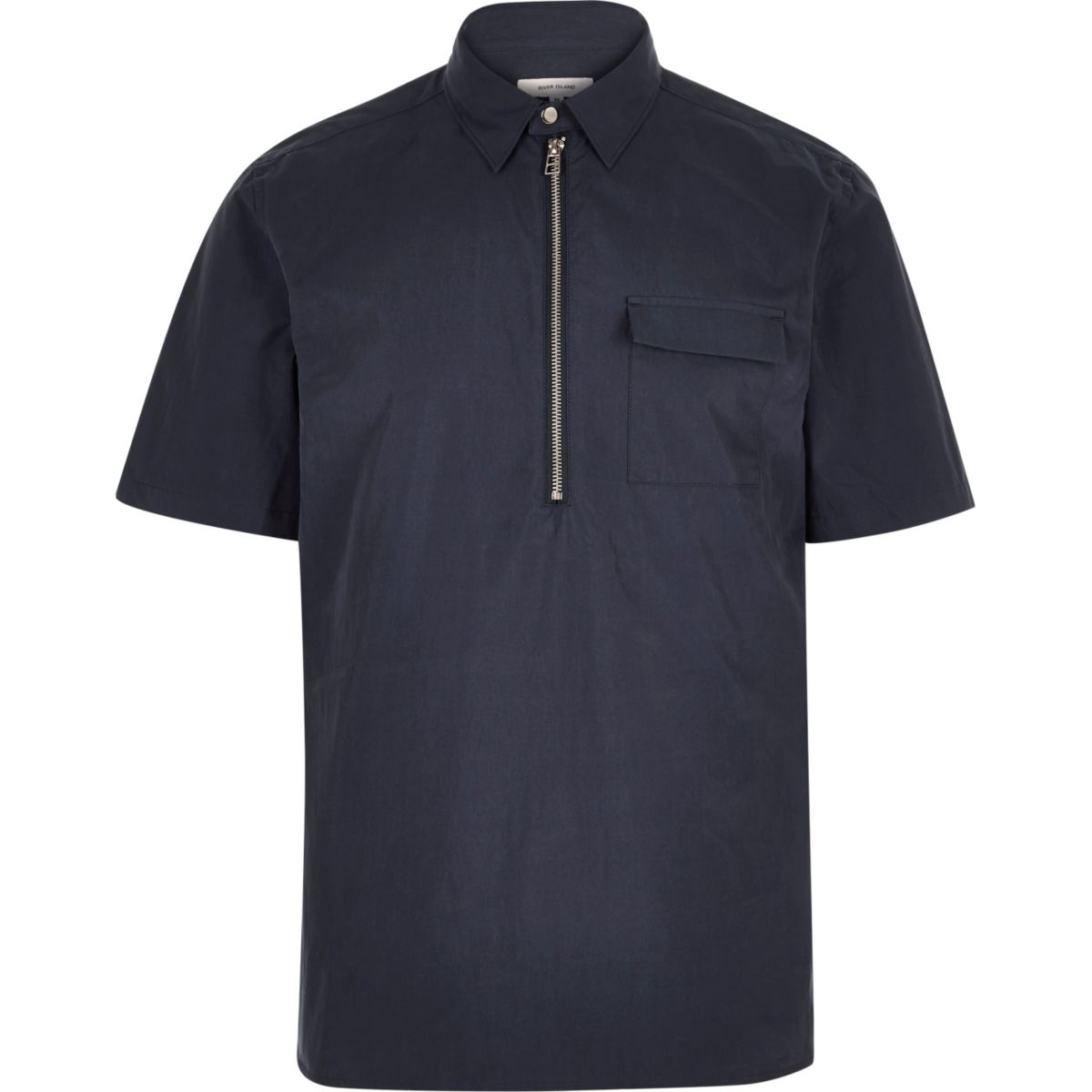 Blue minimal overhead short sleeve shirt