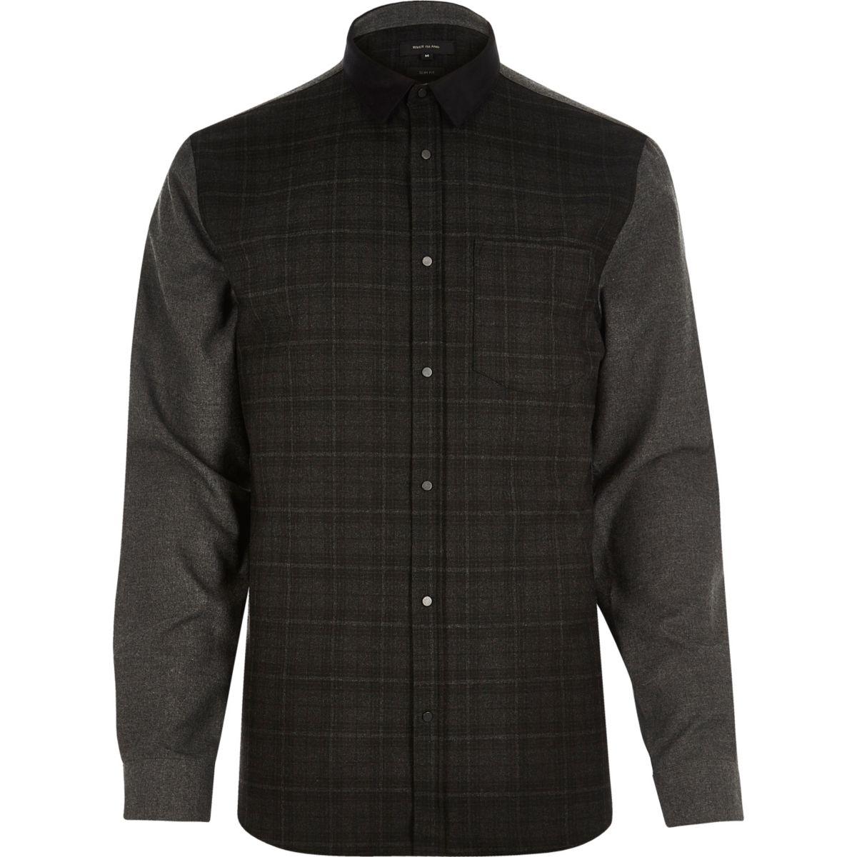 Grey check contrast sleeve shirt