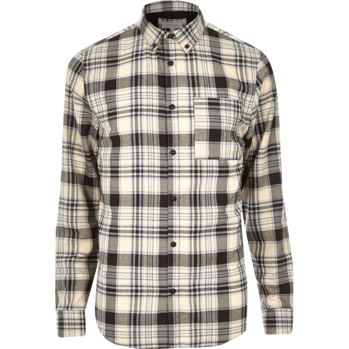 White casual check flannel shirt
