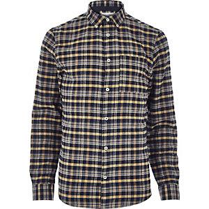 Mustard yellow check flannel shirt