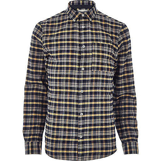 Mustard yellow check flannel shirt
