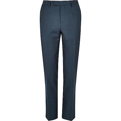 Petrol blue slim trousers