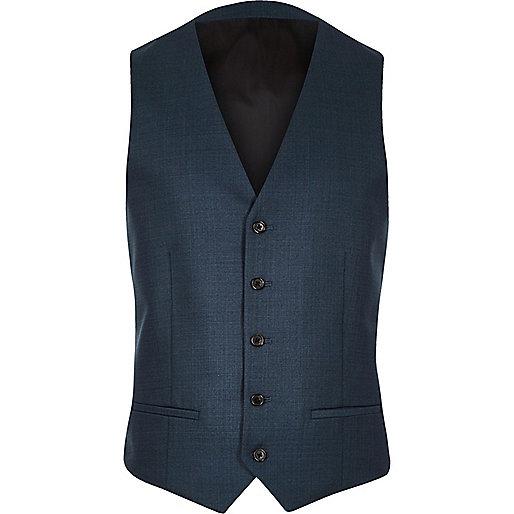 Petrol blue slim waistcoat