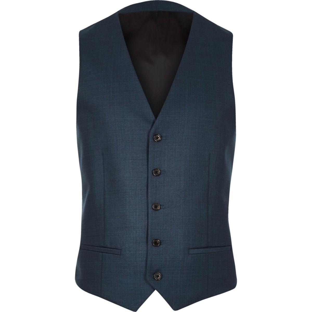 Petrol blue slim vest