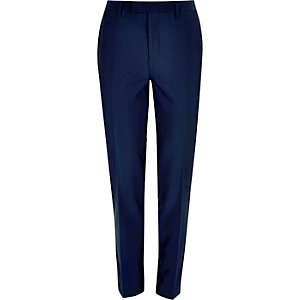 Bright blue slim suit trousers