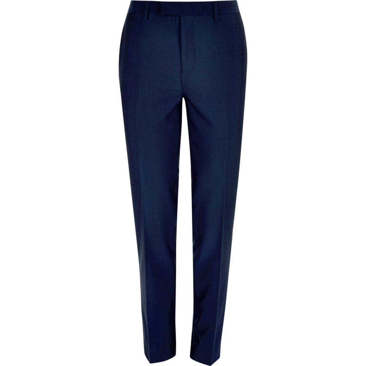Bright blue slim suit pants