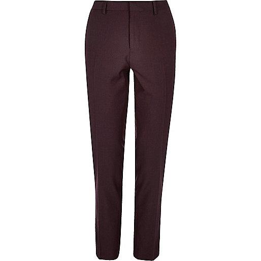 Burgundy smart skinny trousers