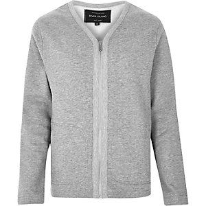 Grey zip-up sweater style cardigan