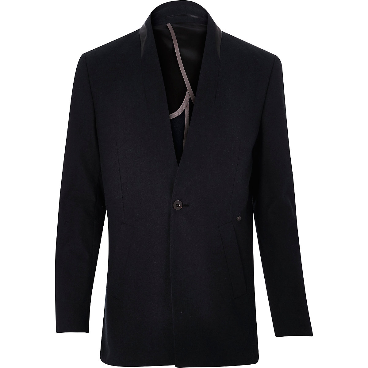 Blue reverse lapel longline blazer