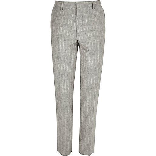 Grey stripe wool-blend skinny suit trousers