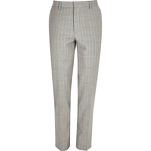 Grey stripe wool-blend skinny suit pants