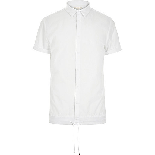 White smart drawstring hem short sleeve shirt