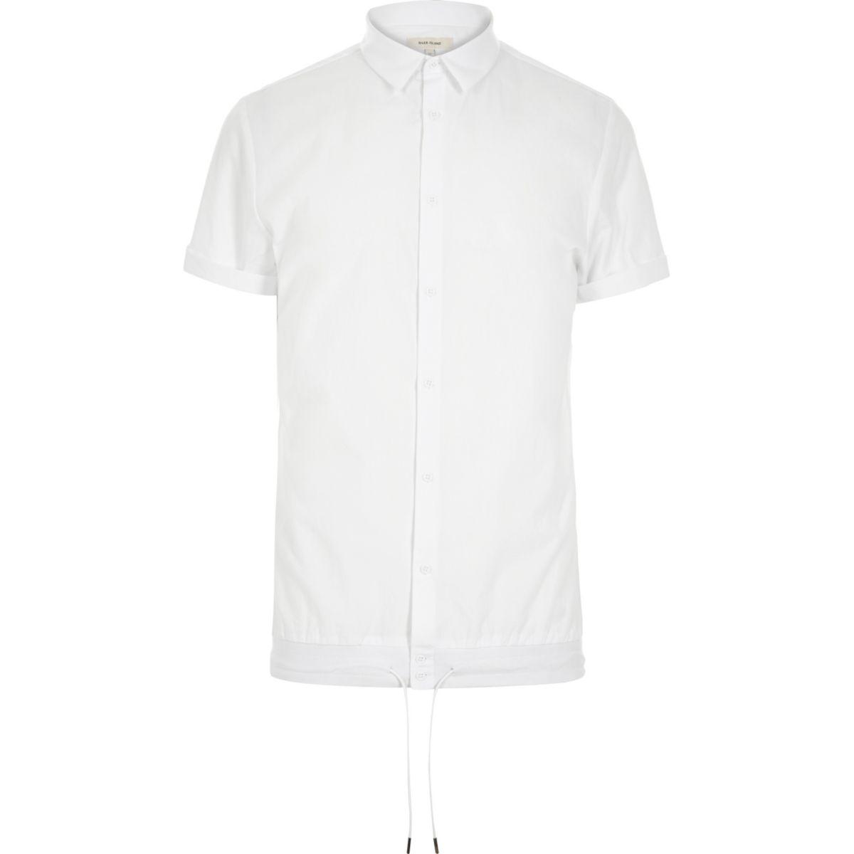 White smart drawstring hem short sleeve shirt