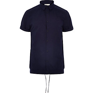 Navy smart drawstring hem short sleeve shirt
