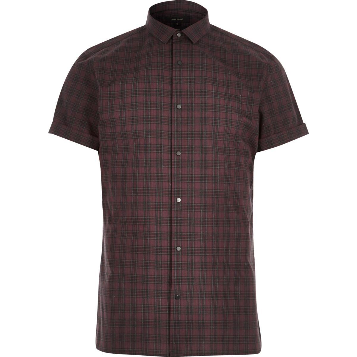 Red check popper short sleeve slim shirt