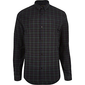 Dark green casual check slim shirt