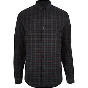 Chemise casual à carreaux vert foncé cintrée